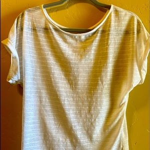 Romy Sheer Cream Blouse- Button Up Back Size Small